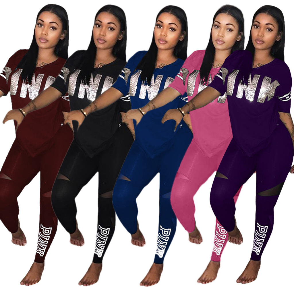 Women Tracksuit Long Pants Sets Womens Two Piece Outfits 2018 amazon short sleeve v-neck leisure Womens Suits Set 2 Pieces Robe