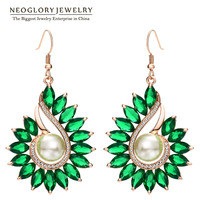 Neoglory Austrian Rhinestone Rose Gold Color Green Zircon Charm Drop Earrings For Women Simulated Pearl 2018 New Fashion Pea