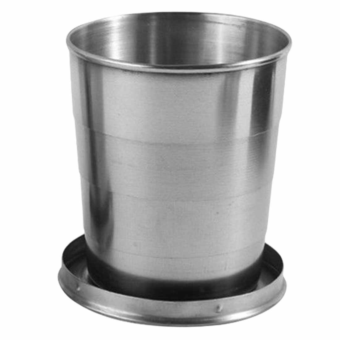 Do agregado familiar 60ml 150ml 250ml de aço inoxidável acampamento dobrável copo copo desmontável de viagem ao ar livre portátil com chaveiro