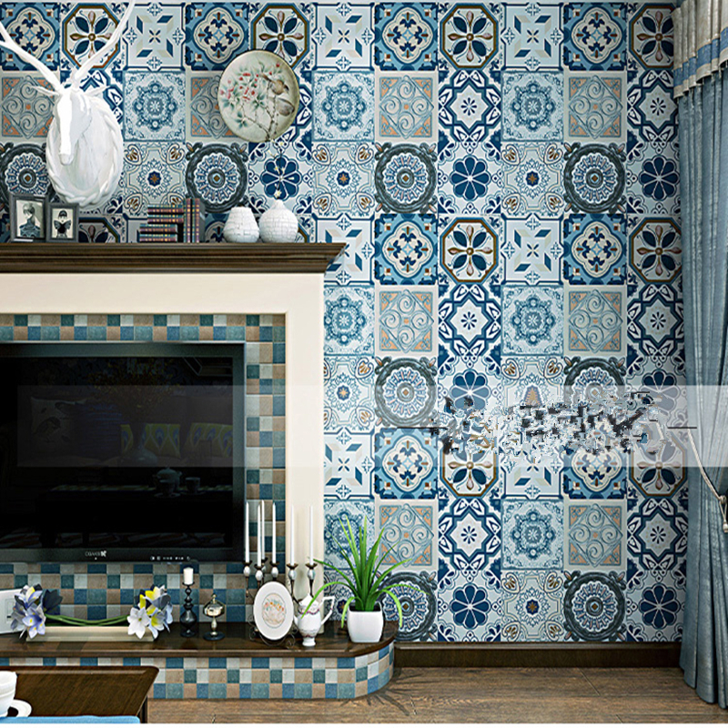 Bohemia Wallpapers Blue Faux Tin Ceiling Tile 3D Wall Cloth Rolls Metallic Vinyl Tile Decals Retro Wallpapers for Living Room