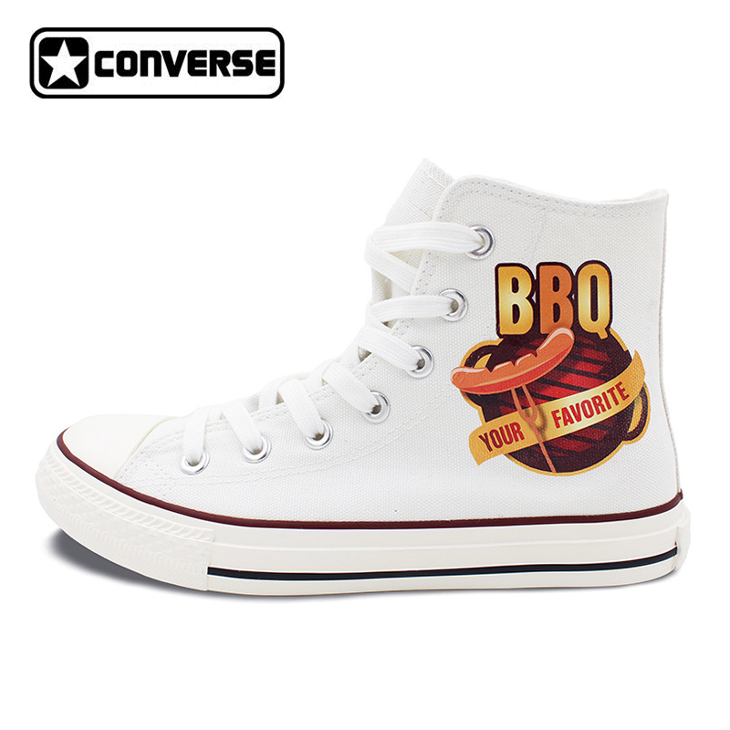 Здесь продается  White Converse Chuck Taylor High Top Canvas Shoes Design BBQ Barbecue Sausage Lace Up Sneakers for Men Women
