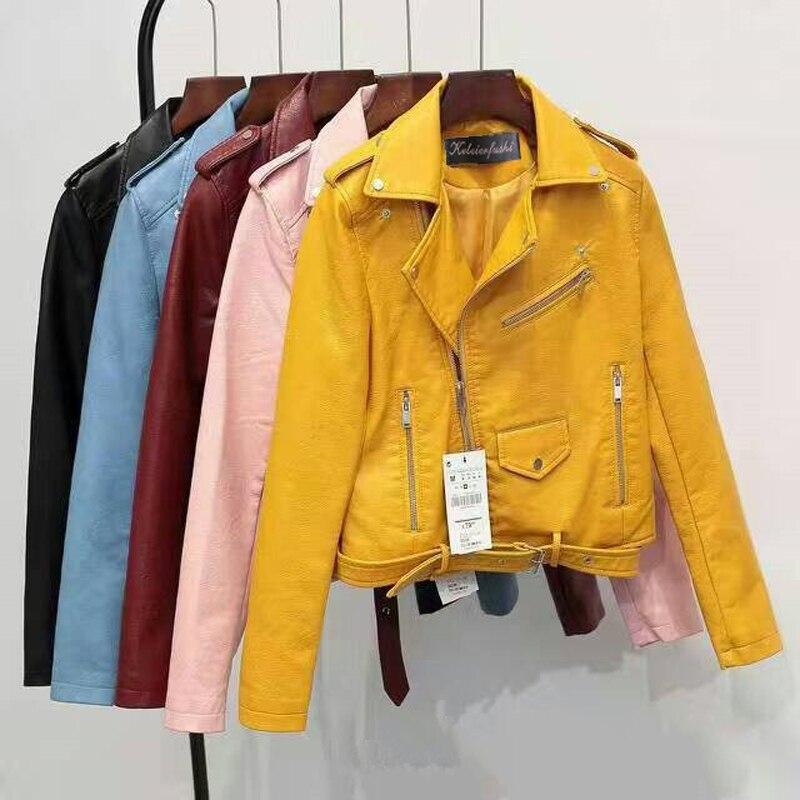 5 Colors Women PU Faux   Leather   Jacket Casual Asymmetric Zipper Female Outwear Coat Streetwear Fashion Ladies
