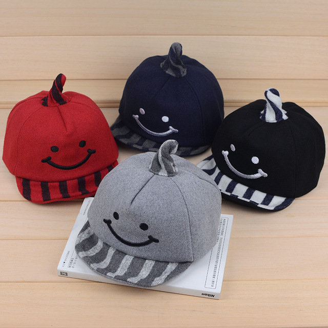 c91ec6ef Smile Cartoon Children's Hats Embroidery Felt Baby Trilby Autumn Winter  Windproof Babies Hat Warm Cute Kids Boys Baseball Caps