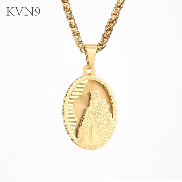 Kvn9 virgin mary carrying baby jesus pendant new gold color jewelry kvn9 virgin mary carrying baby jesus pendant new gold color jewelry stainless steel saint mary mozeypictures Images