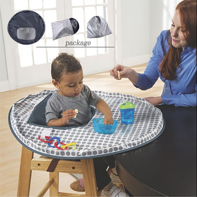 high chair table cover stackable toddler chairs baby eating mat feeding saucer for kids highchair germ prevents food toys falling to floor
