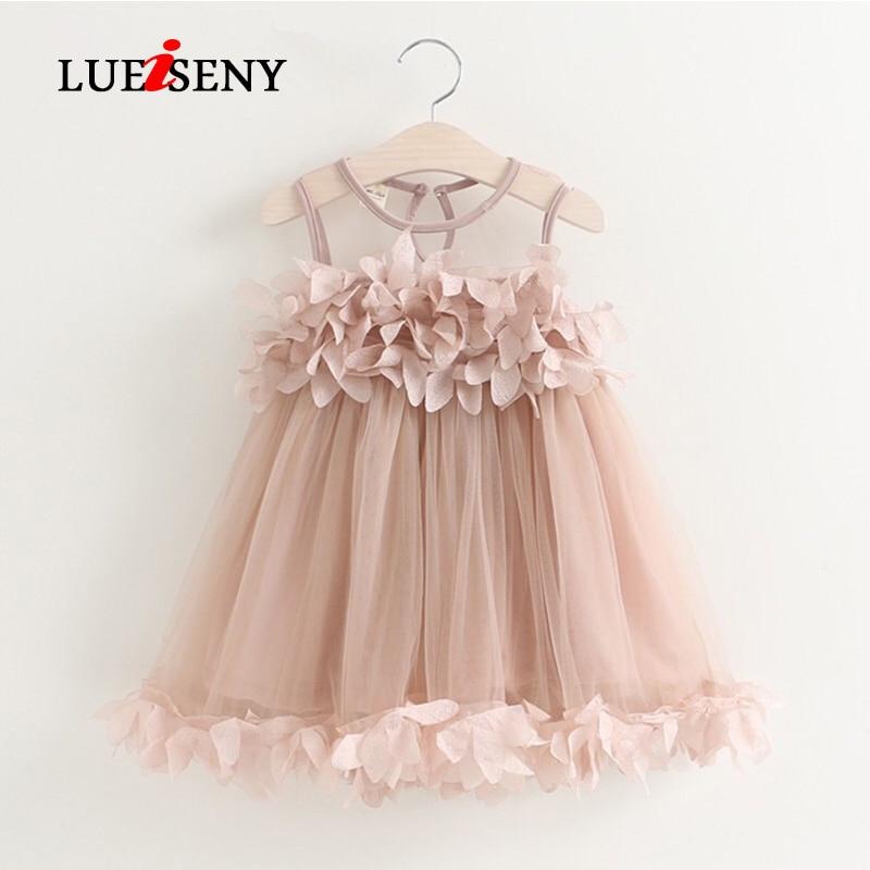 LUEISENY Girls Dress Mesh Kids Clothes Pink Applique Princess Children Summer Baby Dresses