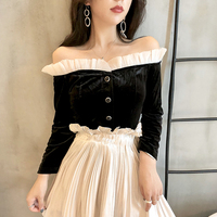 2018 Vintage Elegant Off Shoulder Velvet Blouse Women Long Sleeve Lace Ruffles Blouse Ladies Tops Black Shirt Women blusas mujer