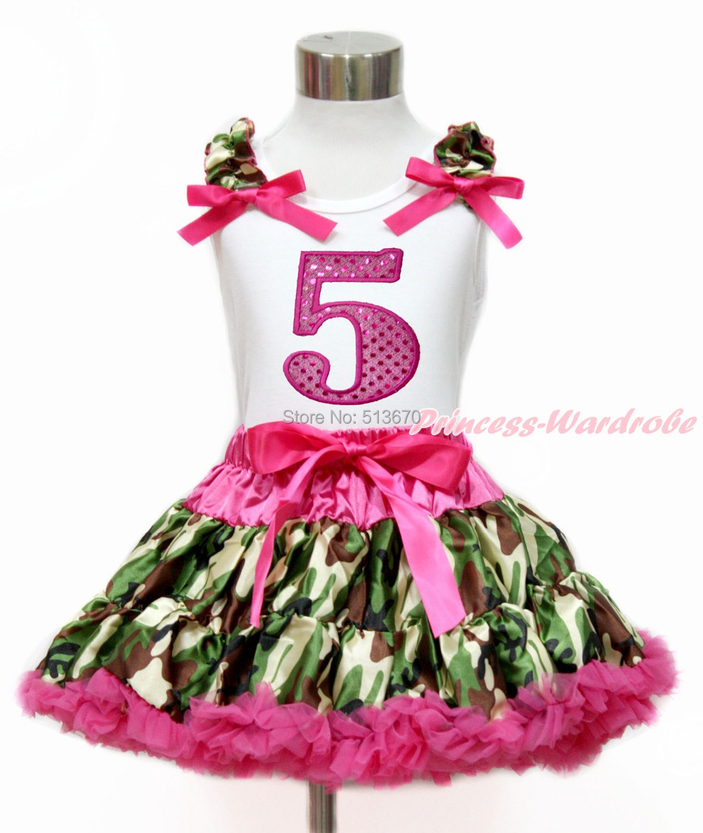 Hot Pink Sparkle 5TH White Top Camouflage Pettiskirt Set 1-8Year MG1216 4th july america flag style stripe pettiskirt white ruffle tank top 2pc set 1 8year mamg1143