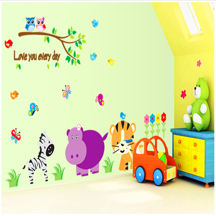 1 Set Love Every Day Cartoon Animal PVC Wall Sticker Kids Room DIY Home Decoration Nursery - Colorful Life store