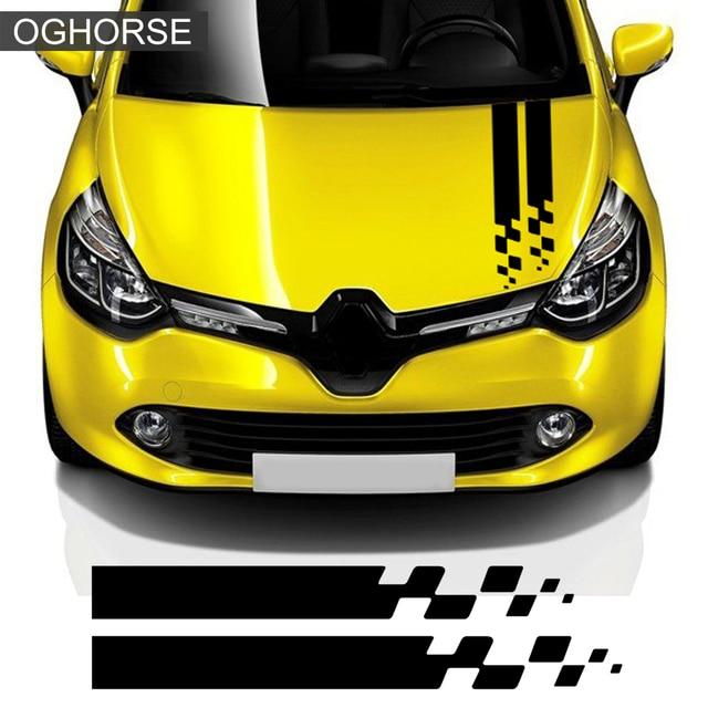 Racing Sport Car Hood Sticker Tronco Cofano Grafica In Vinile Della Decalcomania Per Renault Clio RS Campus Megane 2 3 Twingo Sandero accessori