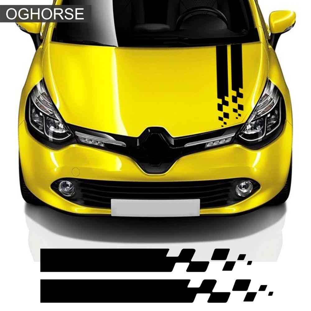 Racing Sport Car Hood Sticker Trunk Bonnet Vinyl Graphics Decal For Renault Clio RS Campus Megane 2 3 Twingo Sandero Accessories