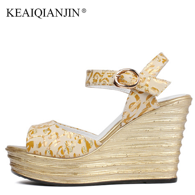 0437f171ff3e KEAIQIANJIN Woman Silvery High Heels Sandal Fashion Genuine Leather Golden Wedges  Shoes Summer Plus Size 33 40 Open Toe Sandals