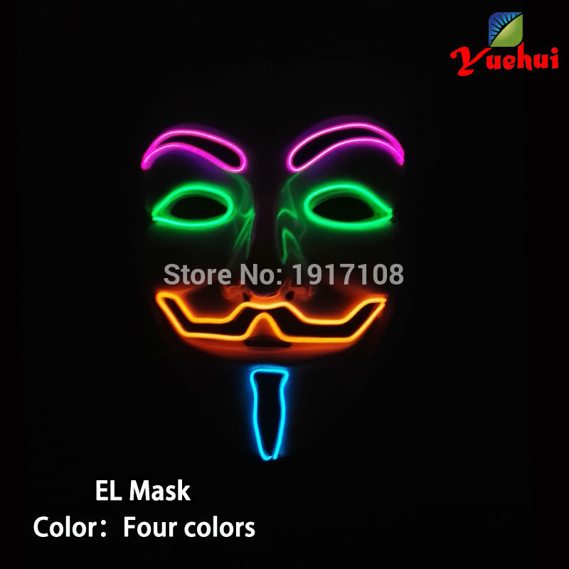 Hot sales 10 Color glowing Vendetta mask DC-3V LED mask toy For Dance,Christmas, Halloween, DJ,Carnival, Evening party Mask