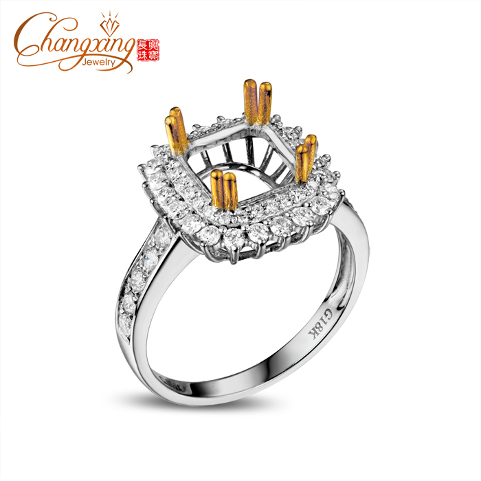 8.0mm Cushion 14k Two Tone Gold .76ct Round Brilliant Cut Diamond Engagement Wedding Semi Mount Ring