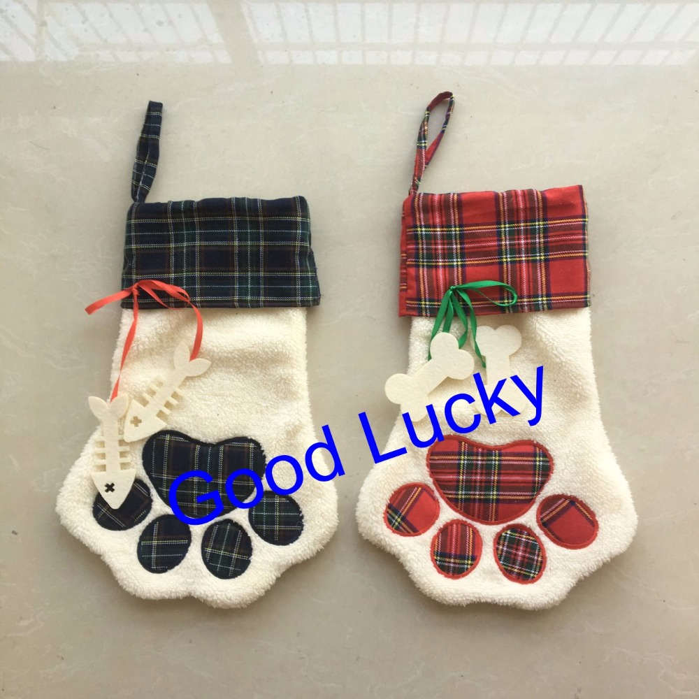 Monogrammed Christmas Stockings Part - 42: 50pcs/lot Free Shipping Monogrammed Dog Paw And Cat Paw Design Pets Plaid Christmas  Stocking