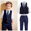 spring autumn 2016 toddler gentleman baby boy clothing set formal solid shirt waistcoat + pants children's clothes outfits suits