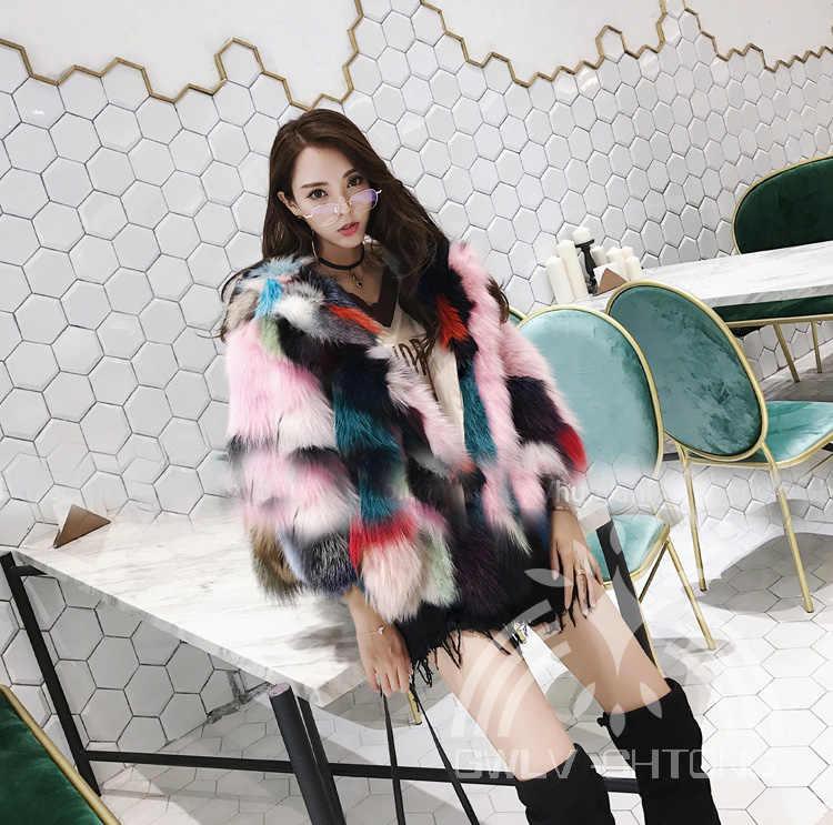 dba2d27175a ... Abrigo de piel de zorro auténtica natural Real con capucha para mujer  chaqueta de piel de ...