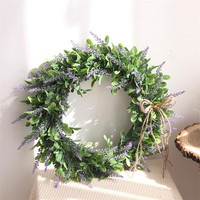 Flone Simulation Lavender Garland Artificial Lavender Wreath Fake Flowers Plants Home Wedding Christmas Decor Door Ornaments
