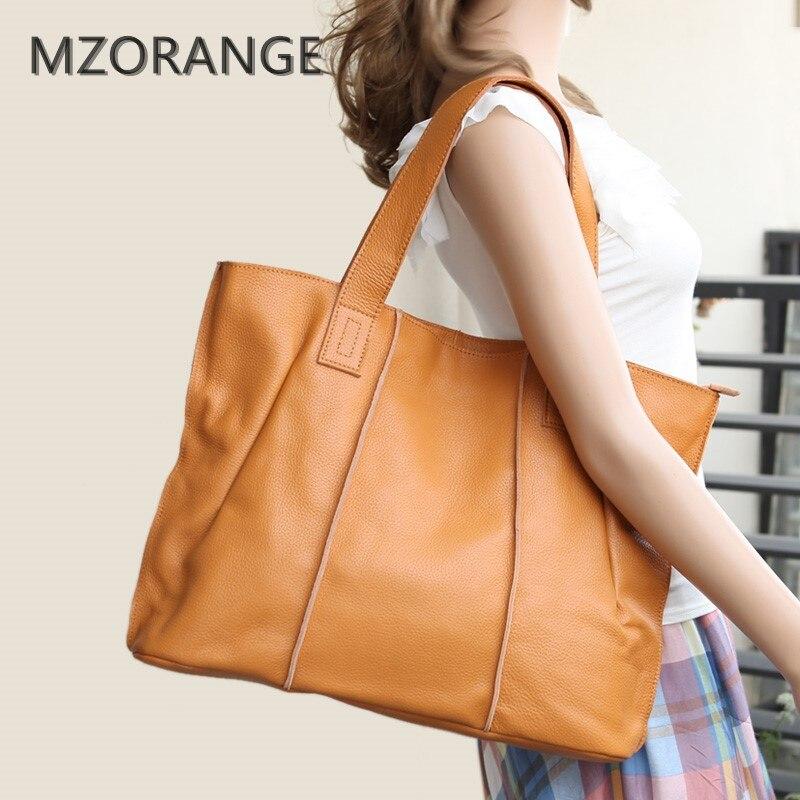 MZORANGE Woman Genuine Leather Handbag Large Cowhide Handbag Big Tote High Quality Women Messenger Bag Shoulder Bag Bolsos Mujer high quality women cowhide tote bag