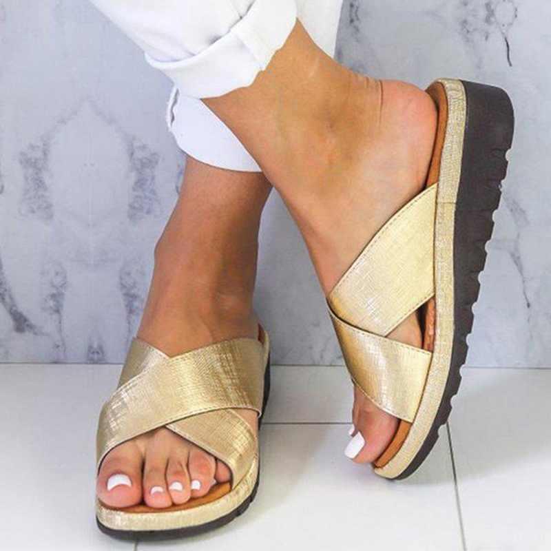 Litthing zapatos de verano zapatillas de Mujer Sandalias cruzadas al aire libre cuña de tacón medio suave inferior Sandalias cómodas zapatos de arena