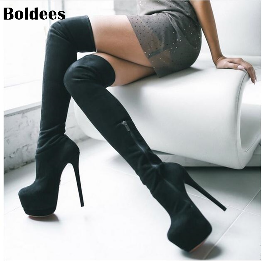 5a913e50e3d Botas altas de gamuza negra sexis para mujer 2018 botas de plataforma de  primavera sobre la rodilla botas de tacón alto para mujer botas largas