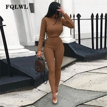 FQLWL Casual Warm Kintted Winter Suit Outfits O Neck Long Sleeve 2 Piece Set Women