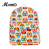 New 2016 Printing Graffiti Owl Backpack Bagpack Canvas Women Bags Animal Backpacks Girl Cartoon Bag Cute