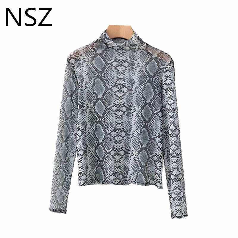 6484cb95d7a4 NSZ Women Animal Print Snake Skin Transparent Shirt Sheer Blouse Long Sleeve  Turtleneck Crop Tops Smock