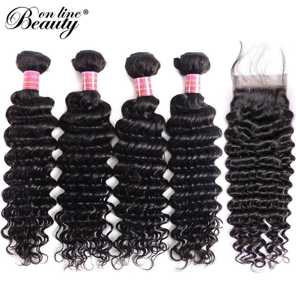Beauty On Line Deep Wave Bundles With Closure 4 Bundles Remy Peruvian Hair Bundles With Free Middle Three Part 4*4 Lace Closure
