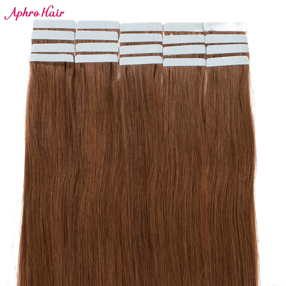 Aphro Hair Tape In Hair 100 Human Hair Straight Color 6 Brazilian Non Remy Tape In