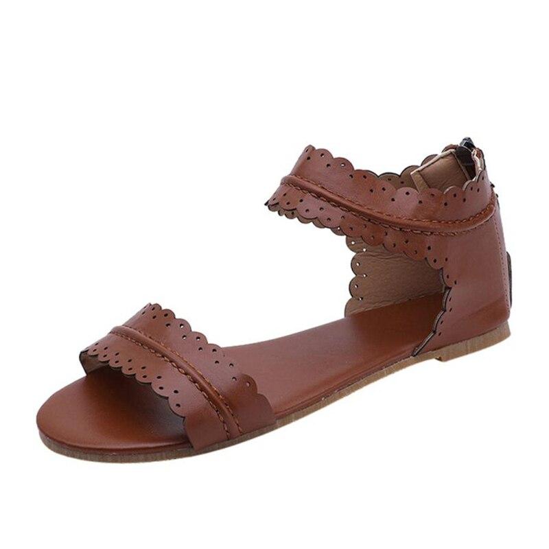 slippers sandals femme 2018 nouveau  Women Waveform Shape Round Toe Ankle-Wrap Gladiator Solid Flat Sandals  O0531#30
