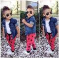 infant boys clothes 2015 new denim jacket + vest + pants 3 PCCs baby suit jacket of casual clothes boys free shipping