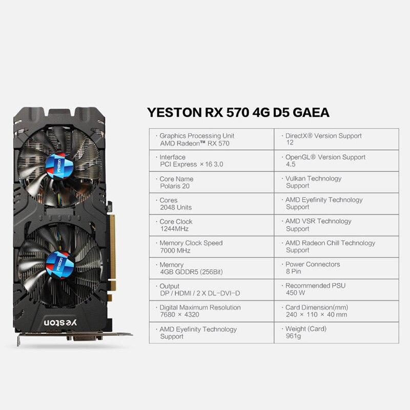 Yeston Radeon RX 570 GPU 4GB GDDR5 256 bit Gaming Desktop computer PC Video Graphics Cards support DVI/HDMI 1