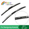 """Brisas do carro wiper blades para Ssangyong Korando (2011-), 16 """"+ 24', 3 tampão de Borracha Seção, brisa, borracha do limpador"""