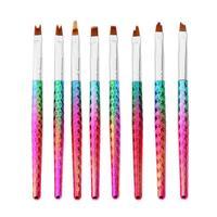 8 Adet Unicorn Mermaid Tırnak Fırçalar Set UV Jel Degrade Astar Fırça Akrilik Resim Kalem Tırnak Manikür Tırnak Sanat Araçları kiti
