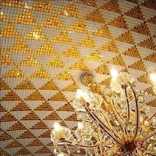 Saure Alkali Widerstand Gold Folie Weiss Glas Dreieck Puzzle Mosaik