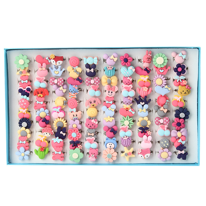 New Arrival Cute Resin Colorful Animal and Flower Kids Rings for Girls Childrens Day Gif ...