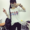 dress loose and long sleeve blouse summer wear striped T-shirt autumn clothing Korean female students all-match shirt