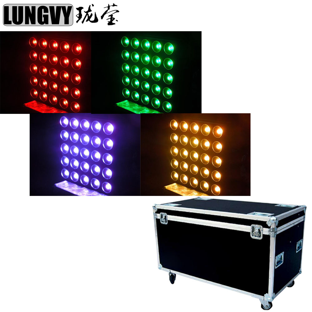 Free Shipping 4pcs/Lot Flightcase 4in1 Pack 5X5 Led Matrix Blinder Light 25X30W 3in1 RGB Tricolor DJ Effect Light blinder m45 x treme