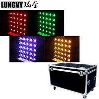 Free Shipping 4pcs/Lot Flightcase 4in1 Pack 5X5 Led Matrix Blinder Light 25X30W 3in1 RGB Tricolor DJ Effect Light