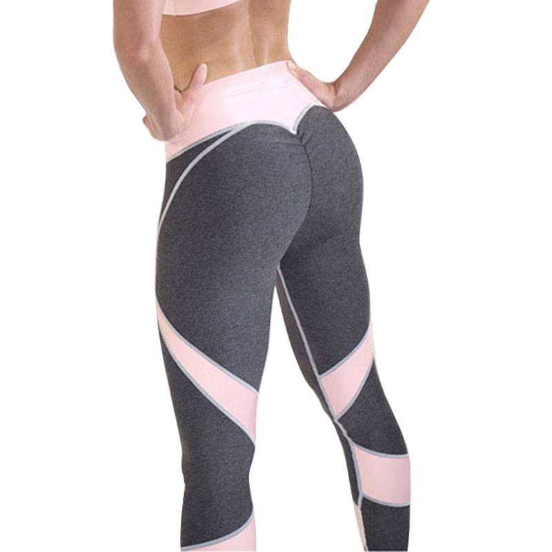 Vertvie Women Sexy Pink Yoga Pants Sports Leggings Running Fitness Gym Tights Trousers Patchwork Striped Compression Trousers