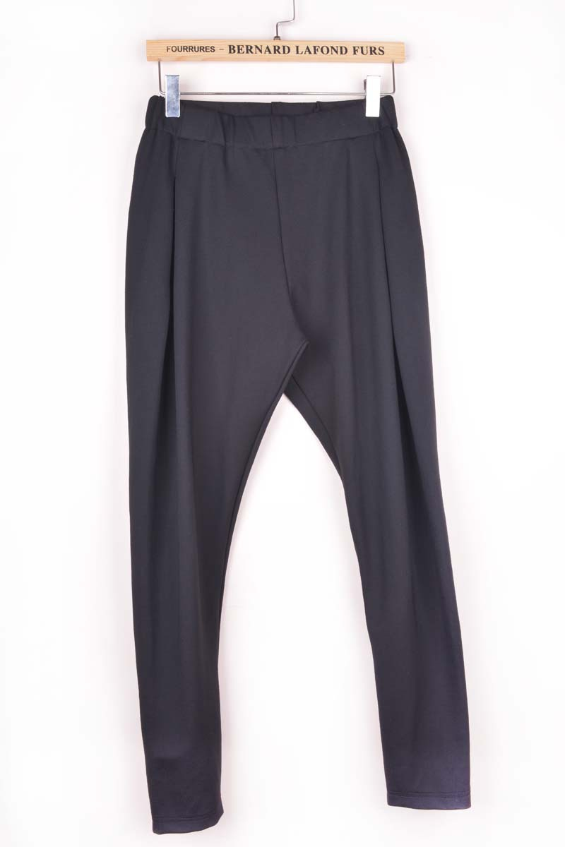 Autumn Winter New Black Women's Harem   Pants   Casual Style Trousers Knitted Pleated Solid High Waist   Pants   &   Capris