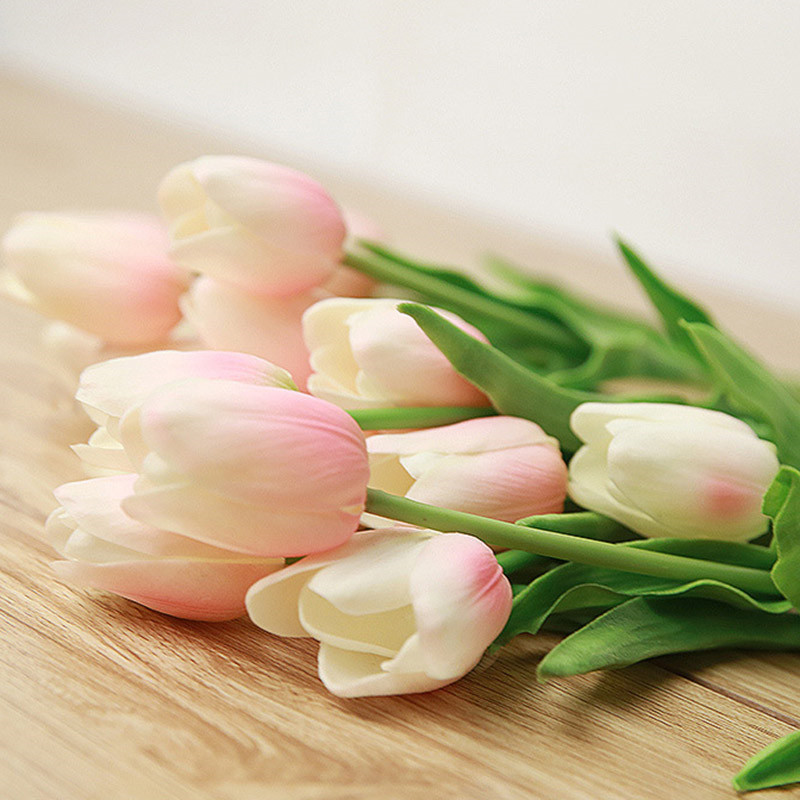 7 Colors Pu Real Touch Mini Tulip Artificial Silk Flowers Home
