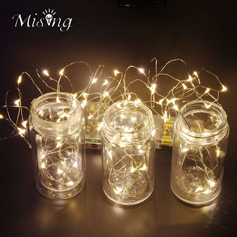 Mising 4M 40LED String Lights Waterproof IP44 Holiday Copper Silver lighting for Fairy Christmas Tree Wedding Party Decoration