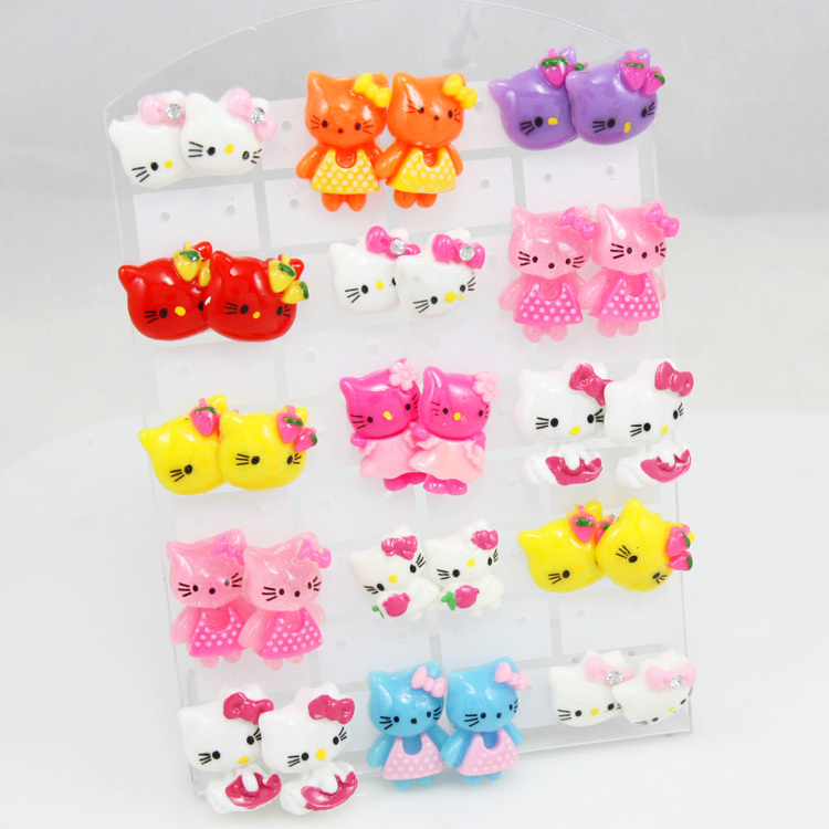 15 Pairs O Kitty Jewelry For Women Mix Colors Cute S Kids Earrings Flower Stud Accessories Ers G22 In From