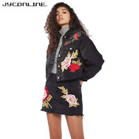 JYConline Floral Embroidery Sexy Women Skirt High Waist Denim Skirts Women Mini Jeans Skirt Female Sexy