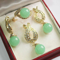 Jewelry 12mm Green jades Pendant Necklace Earrings Ring Set