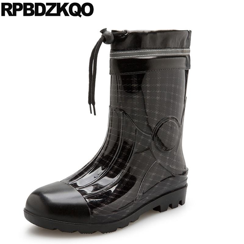 Mid Calf Black Ankle Shoes Waterproof Cheap Camouflage Rainboots Rain Mens