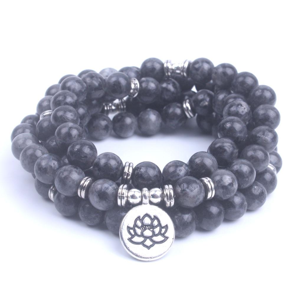 108 Bead Labradorite Mala Necklace (Buddha, Lotus, or OM) 2