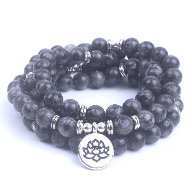 108 Mala Labradorite Lotus Bracelet 2